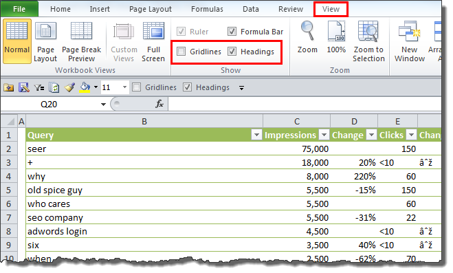 Turning off gridlines and headings in Excel