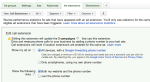 Google Ad Extension Settings
