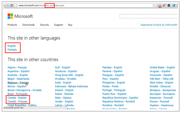 Microsoft Country & Language Targeting with Sub-Directories