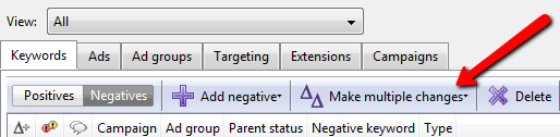 AdWords Editor Adding Negative Keywords