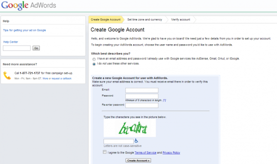 how to create a new adwords account