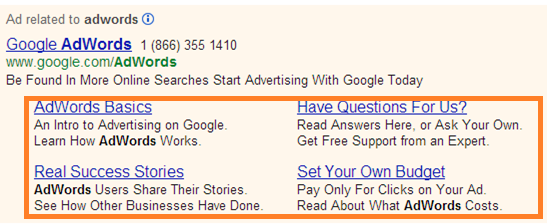 An example of Google ad extensions