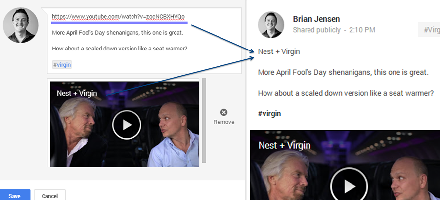 YouTube links on Google+