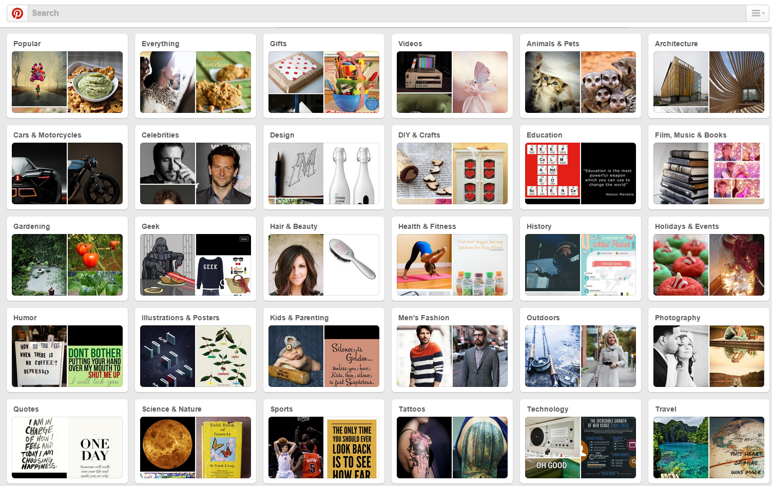 Pinterest Category Screenshot