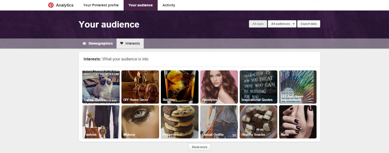 Pinterest Ananlytics Your Audience