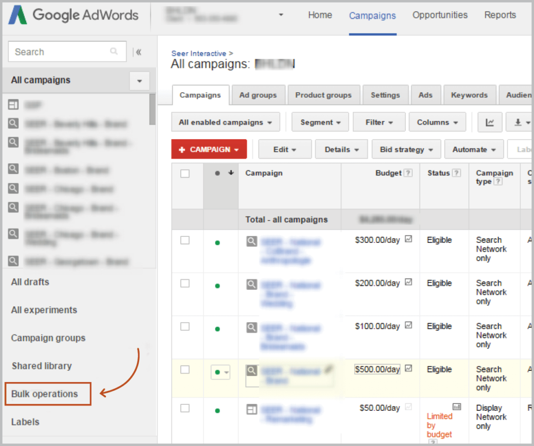 AdWords UI Bulk Operations
