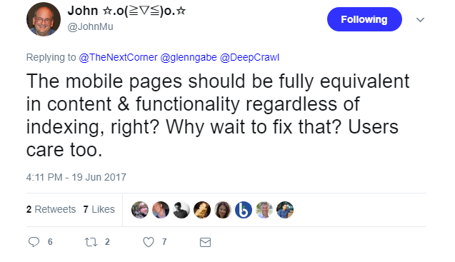 John Mueller tweet 2 on mobile 2017