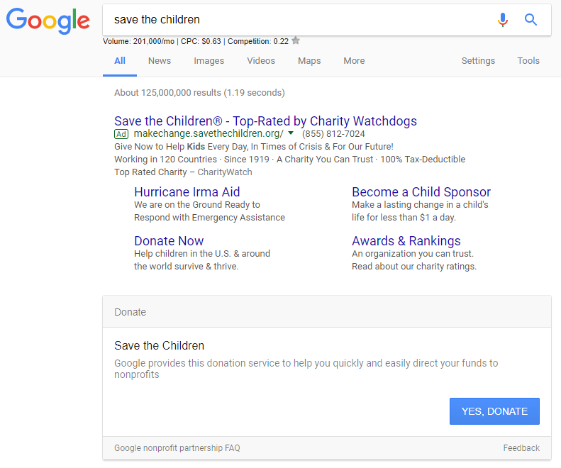 save the children donation in serps