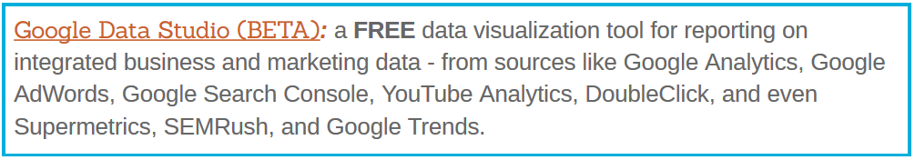 Google Data Studio BETA free data visualization tool