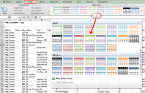 Excel table formatting for Mac