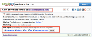 SEER Interactive On Similar Site Search