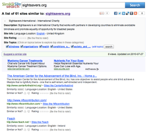 Similar Site Search For SightSavers.org