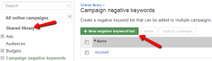 Add Shared Library Negative Keywords