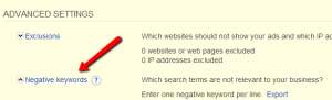 Implementing Negative Keywords in Bing's Interface
