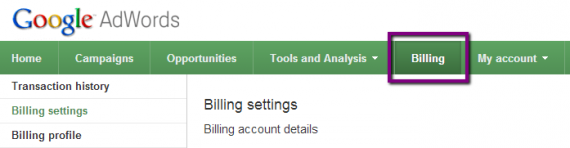 adwords billing