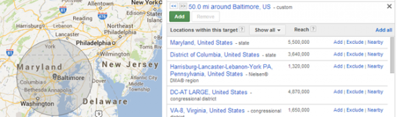 adwords radius targeting