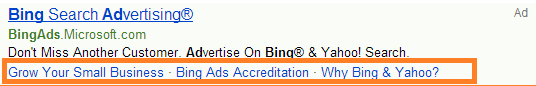 An example of Bing ad extensions
