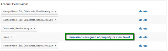 Google Analytics notifies you if a user was assigned permissions at a different level.