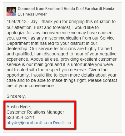 Earnhardt_Honda_Response_Good