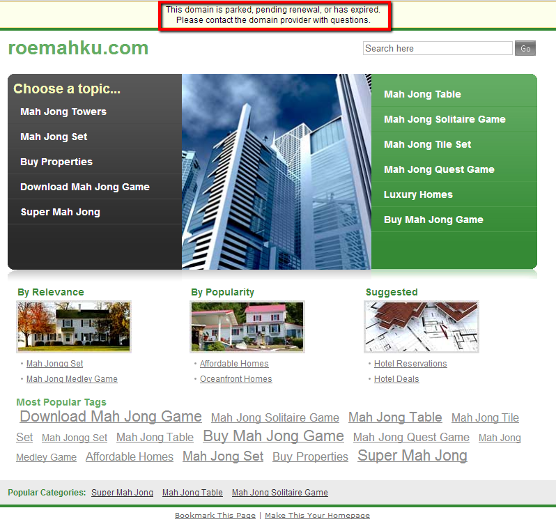 parked domain bad site example 2
