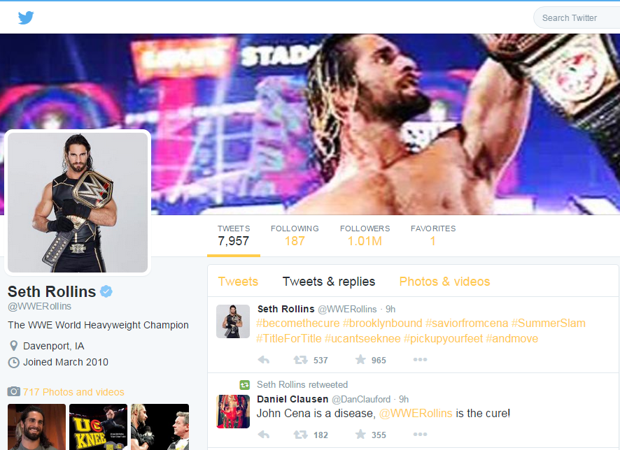 Screen cap of WWE Champ Seth Rollins' Twitter page
