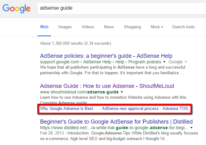 adsense-sitelinks-results