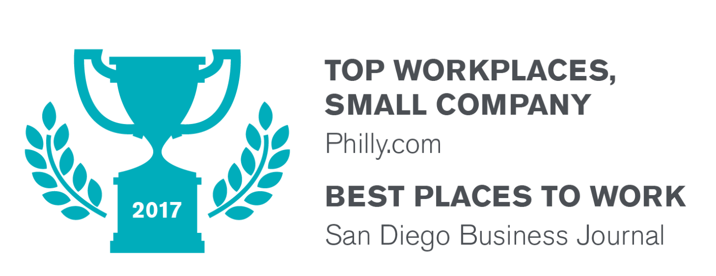 2017 Top Workplaces, Small Company Philly.com; Best Places To WorK San Diego Business Journal