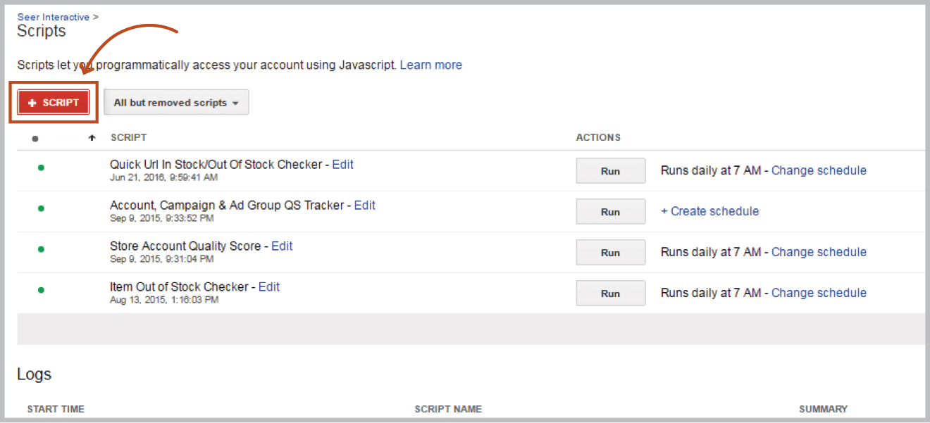 AdWords UI add script button