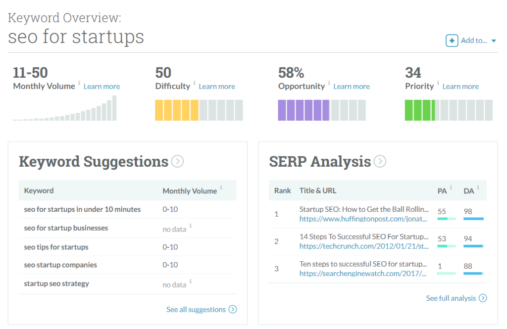 seo for startups moz keyword explorer