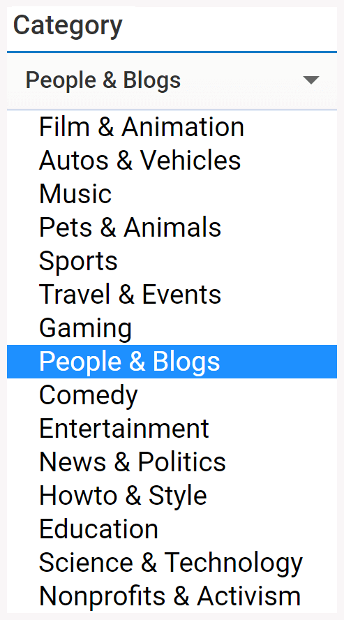 youtube category select dropdown