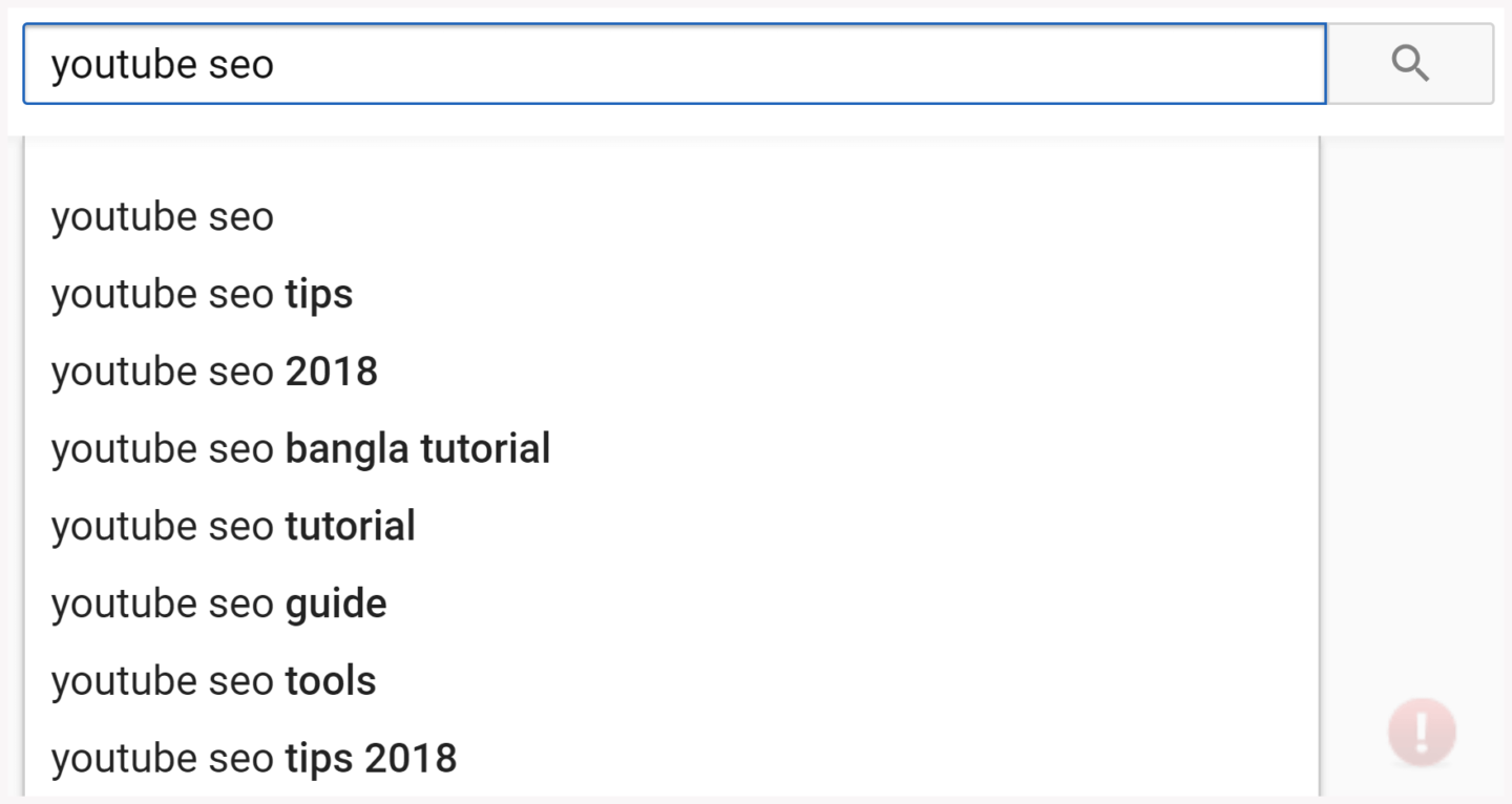 youtube SEO Search Bar