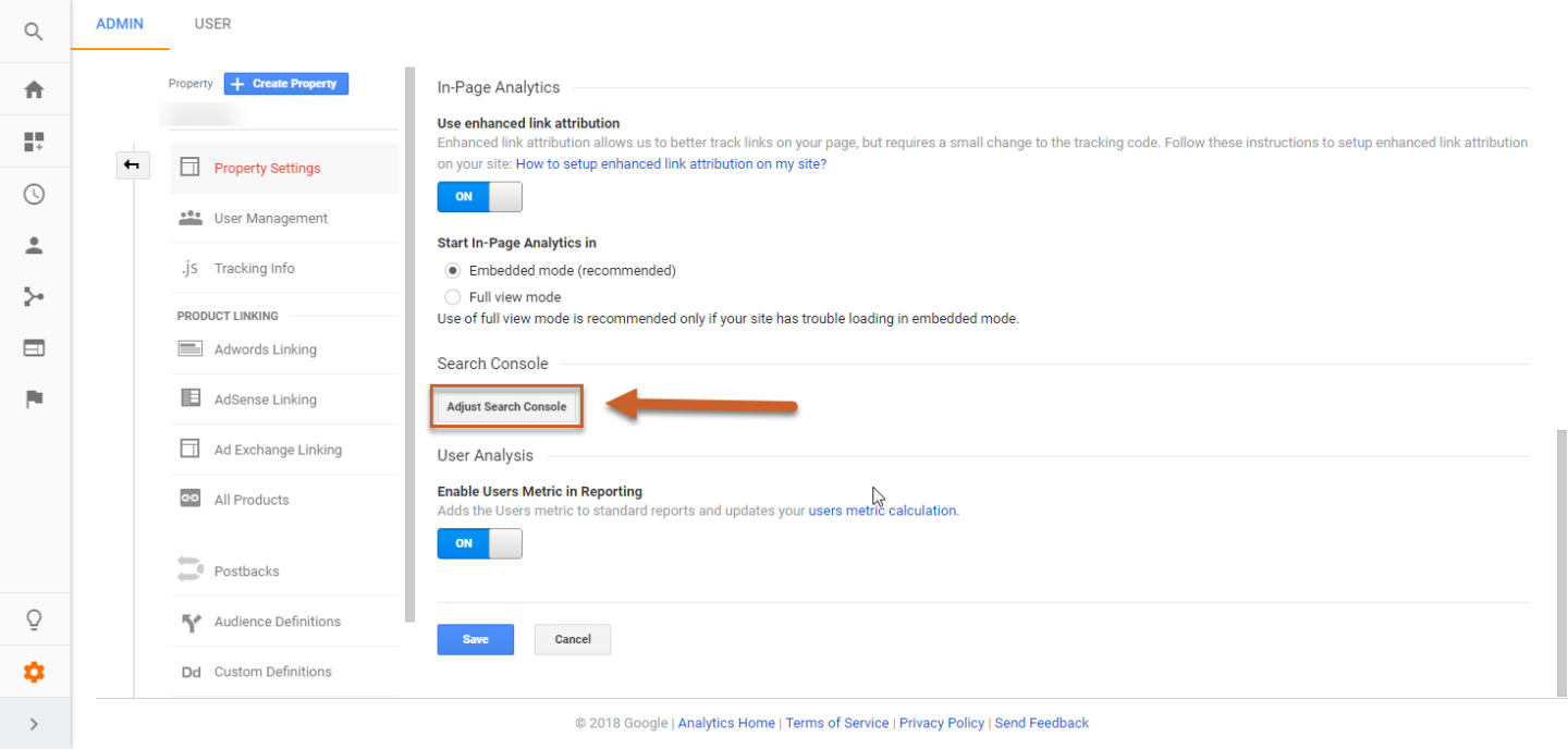 adjust search console in google analytics