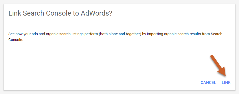 confirm gsc adwords link