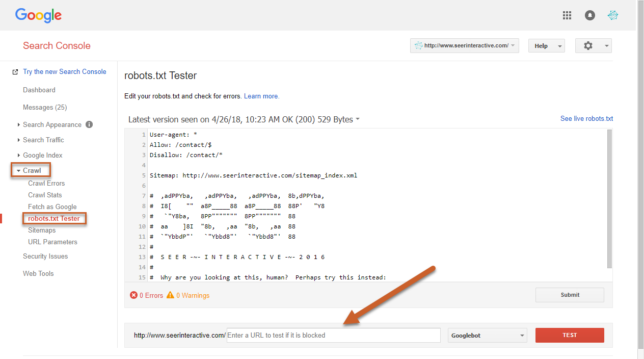 testing robots txt in gsc