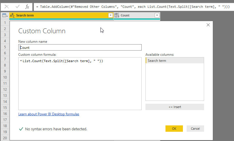 how to add a word count column in power bi