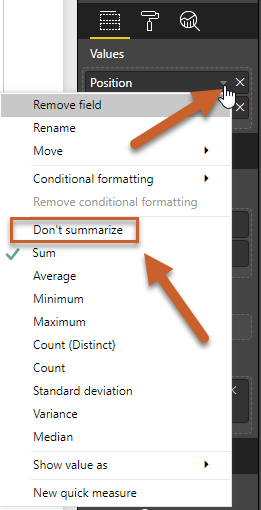 how to change default summarize power bi