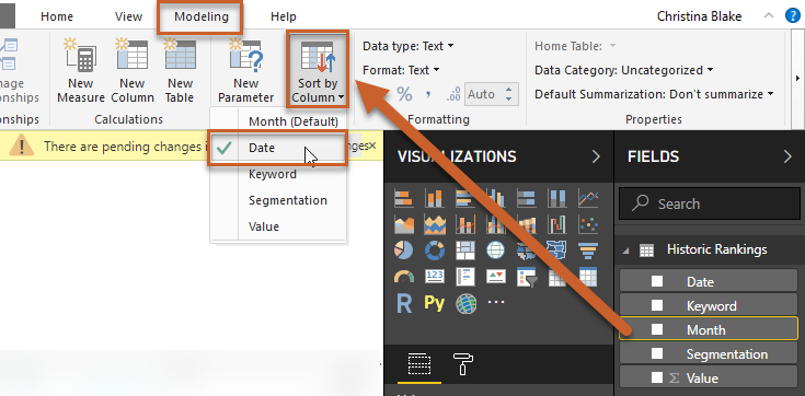 how to sort by column in power bi