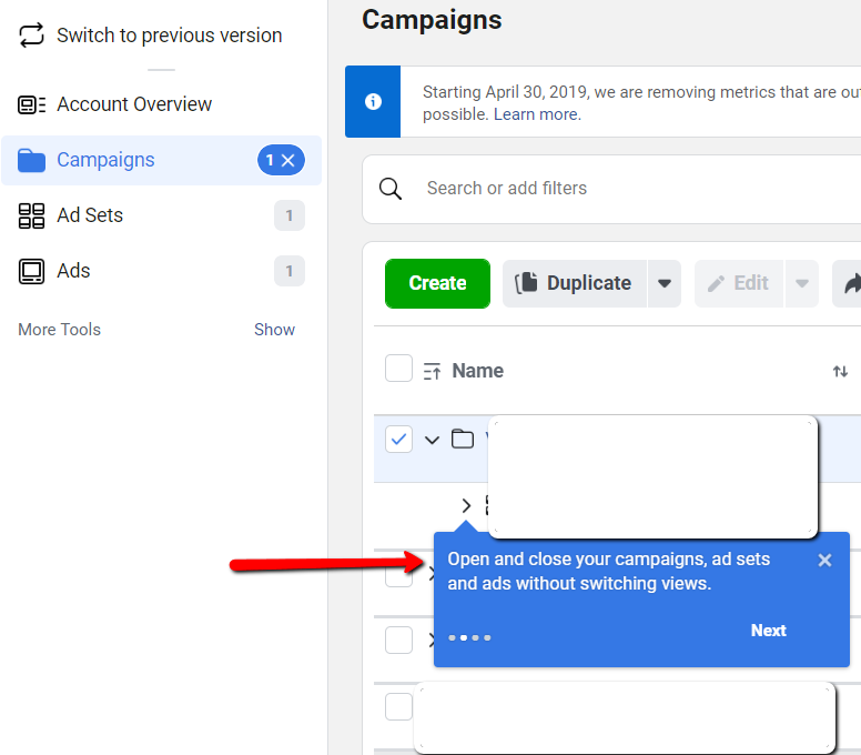 Ads Manager Update 2 Nested Campaigns