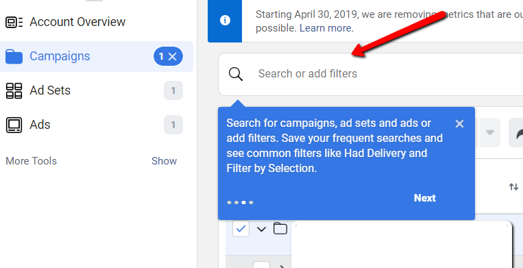 Ads Manager Update 3 Search Bar