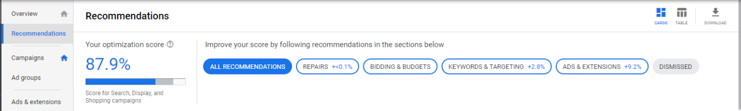 recommendation screen