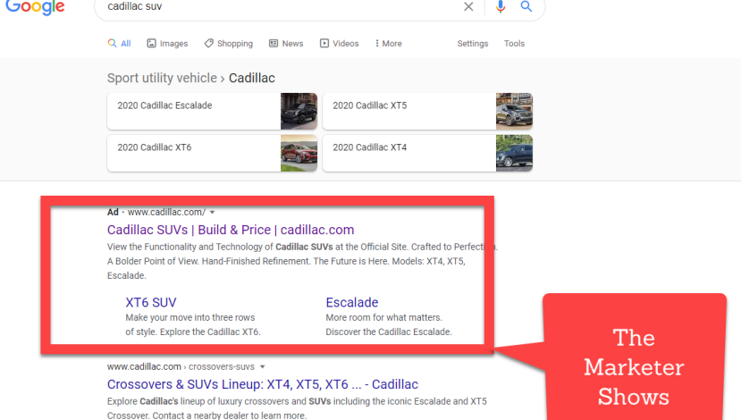 cadillac suv what the marketer shows